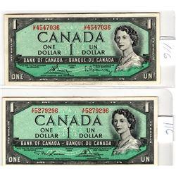 1954 DOLLAR BILLS DIFFERENT SIGNATURES