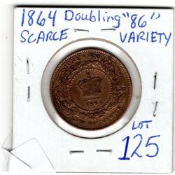 1864 NEW BRUNSWICK 1 CENT ERROR DOUBLE 86