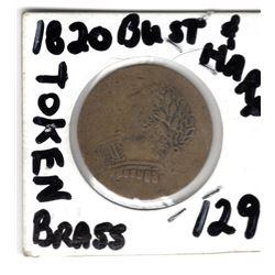 1820 BRASS BUST & HARP COLONIAL TOKEN