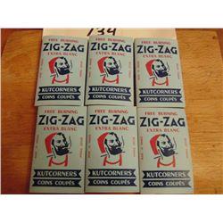SIX VINTAGE ZIG ZAG CIGARETTE ROLLING PAPER PACKS