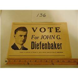 """DIEFENBAKER 8 ½"""" BY 13 ½"""" POSTER 1960'S VOTE FOR JOHN G. DIEFENBAKER"""