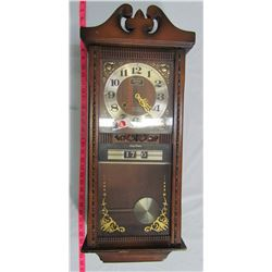 PENDULUM WALL CLOCK - FRISKER 31 DAY - NEEDS SOME ADJ. TO COORDINATE TIME W/ CHIME