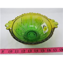 GREEN/GOLD IRIS PATTERN GLASS DISH