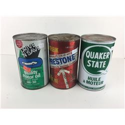 1 QUART OIL CAN LOT (QUAKER STATE, PRESTONE ANTI-FREEZE, DRIVE N SAVE) *ALL FULL*