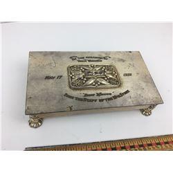 1952 SILVER PLATE CIGARETTE GIFT BOX