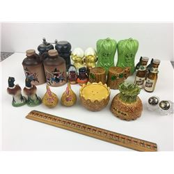 LOT OF 12 SALT AND PEPPER (SCHLITZ BEER, CATS, CHICKENS…)