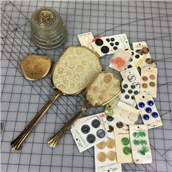 MISCELLANEOUS LOT CARDED BUTTONS, POWDER BOX COMPACT…