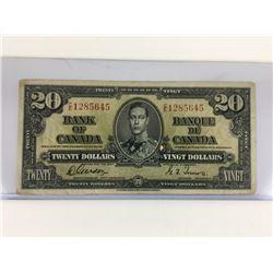 1937 CANADA $20 BANKNOTE