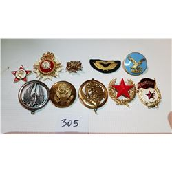 LOT OF 10 BADGES, FRANCE, RUSSIA, CANADA, UNKNOWN