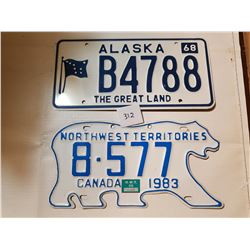 NWT AND ALASKA LICENSE PLATES