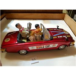 """OLD LARGE SIZE TIN MECHANICAL WORLD CUP CAR 16.5"""""""