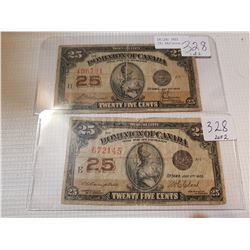 TWO 1923 25 CENT SHINPLASTERS, *TWO DIFFERENT SIGNATURES*