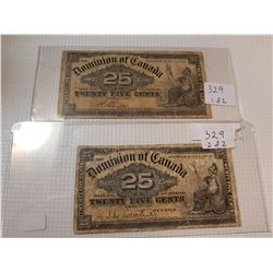 TWO 1900 25 CENT SHINPLASTERS,* TWO DIFFERENT SIGNATURES*