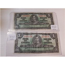 TWO 1937 $1 BILLS, *2 DIFFERENT SIGNATURES*