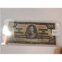 1937 $20 BILL, (GORDON TOWERS)