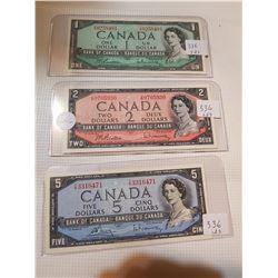 1954 BILL SET $1, $2, $5 - (2 AU AND 1 UNC)