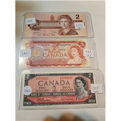 $2 BILLS, *ALL DIFFERENT DATES* (3 UNCIRCULATED)