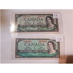 2 - 1954 $1 BILL  (ONE IS DEVIL'S FACE)