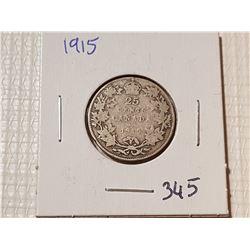*RARE* 1915 CANADA 25 CENT COIN
