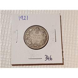 *RARE* 1921 CANADA 25 CENT COIN
