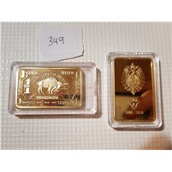 US AND PRUSSIA *GOLD PLATED COPPER*, (RARE COPIES)