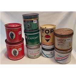 TOBACCO TINS, LOT OF 9
