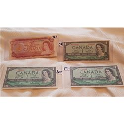 3 - 1954 $1 CNDN NOTE AND 1974 $2 CNDN NOTE