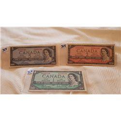 1954 CNDN NOTES, $5, $2 & $1