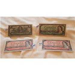 2 - 1954 $2 CNDN NOTES, 1954 CNDN $1 NOTE, 1937 $1 CNDN NOTE