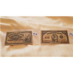 1900 & 1923 25 CENT SHINPLASTERS