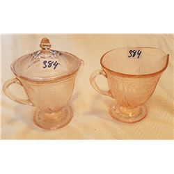 PINK DEPRESSION CREAM & SUGAR BOWL SET