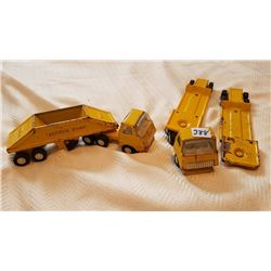 YELLOW TONKA TIN TOY TRUCKS W/TRAILERS
