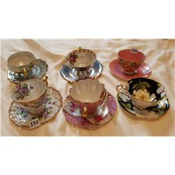 CUPS & SAUCERS, LOT OF 6, *2 ARE 3 LEGGED*