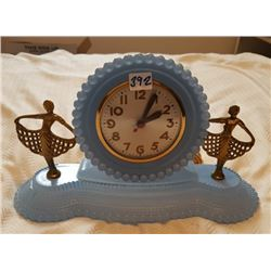 "SESSION ELECTRIC CLOCK, BLUE GLASS, 13"",* OLDER*"