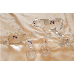 GLASS LOT OF 5, BEAR, SWAN (CRYSTAL), FISH
