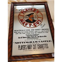 "PLAYER'S ADVERTISING GLASS MIRROR SIGN 14""X20"""