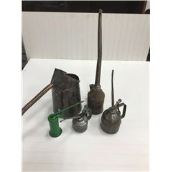 4 OILERS & OIL CAN (COPPER), 2 LARGE PCs, RUSTED W/HOLES