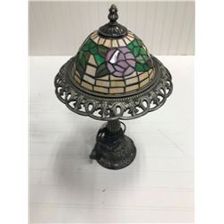 """STAINED GLASS LAMP, MODERN, 17"""" TALL"""