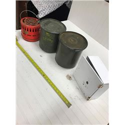 2 ARMY CANNISTERS, HEATER & ALARM BOX