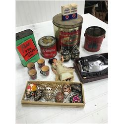 LOT OF COLLECTIBLES, TINS, PAINTER WOODEN EGGS, IRON, ETC.