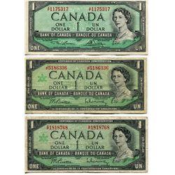 3 CNDN $1 BANK NOTES 1954, LAWSON/BAVEY, 2 1967 BEATTIE/RASMINSKY