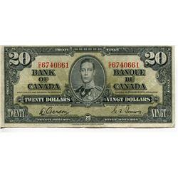 1937 $20 CNDN BANK NOTE GORDON/TOWERS