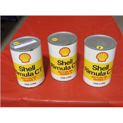 3 *FULL* SHELL OIL CANS