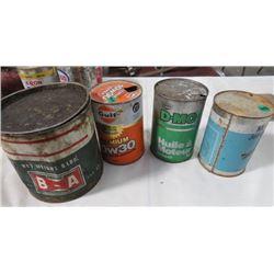 4 OIL TINS - GULF, COOP, MOBIL JET OIL II - PARTLY FULL, BA 5LB OIL