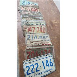 1970s SASK LICENSE PLATES, (APPROX 32)