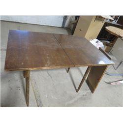 "1960s WALNUT KITCHEN TABLE W/LEAF, (32X48"")"