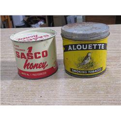 2 TINS, SASCO HONEY, ALOUETTE TOBACCO