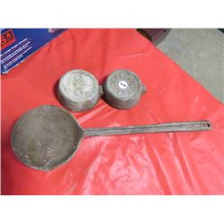 CAST IRON FORGE LADLE & WEIGHTS