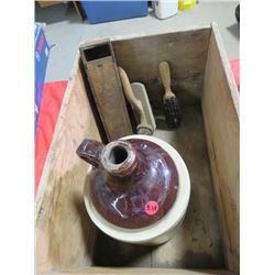 WOOD BOX W/*CRACKED* 1 GAL JUG, SHOE BRUSHES, WOOD PENCIL BOX