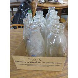 BOX OF BOTTLES, 7 MILK, (1 PA DAIRY), DREY SQUARE MASON, 4 POP INCL COKE & MISSION